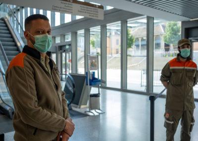 Protection civile, Hôpitaux Universitaires de Genève (HUG), Genève, 27 avril 2020