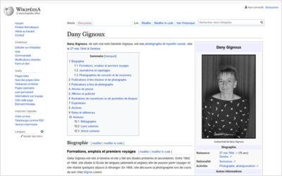 Fonds Dany Gignoux (6): Documentation et création d'un article sur Wikipédia pour Dany Gignoux