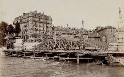 Genève au fil du temps: construction du pont de la Coulouvrenière